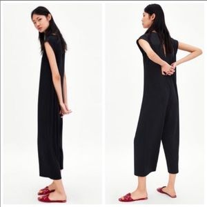 Zara Black Ribbed Jumpsuit